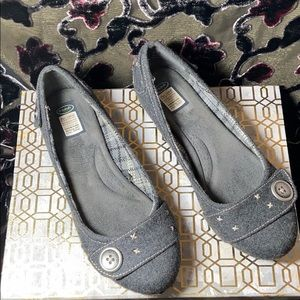 Dr Scholls ballet flat sz 8M grey fabric+buckles